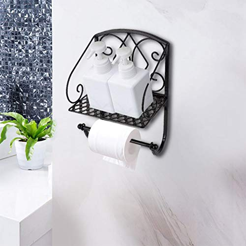 AISHIPING Creatieve ijzeren toiletpapierhouder met rek, retro-papieren handdoek-opbergrek voor het opbergen van toiletpapier in de badkamer thuis