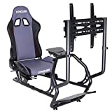 Conquer Race Simulator with Single Monitor Stand Racing Seat Cockpit, Gaming Chair with Wheel Stand, Gear Shift Mount