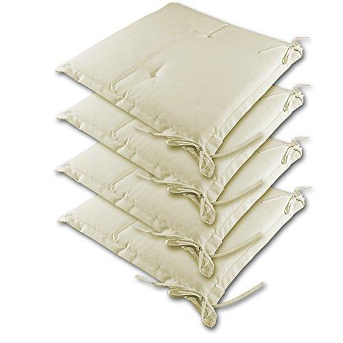 Detex® Stuhlauflagen Sydney 4er Set Wasserabweisend Kissen Sitzkissen Stuhlkissen Auflage Sitzauflage Creme
