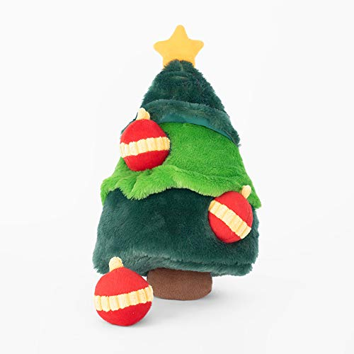 ZippyPaws - Holiday Burrow, Interactive Squeaky Hide and Seek Plush Dog Toy - Christmas Tree