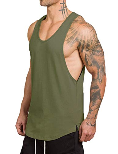 Rexcyril Men's Workout Gym Tank Top Fitness Bodybuilding Stringer Muscle Cut Sleeveless T Shirt X-Large Army Green