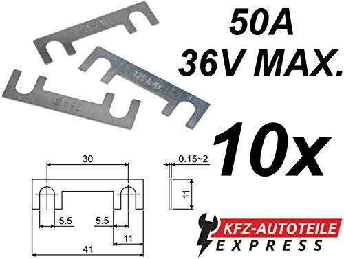 KFZ Streifensicherungen Blattsicherungen, FS01, Set mit 10 Stück, 25A 30A 40A 50A 60A 70A 80A 100A 120A 125A 150A 36V max, Stromstärke :050A Ampere