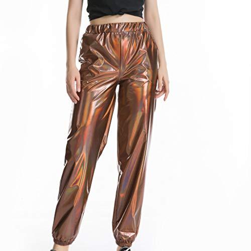 Azruma Mujeres Cintura Alta Color Slido Charol Largos Pantalones Slim Fit Pantalones de Pierna Ancha Mujer Camiseta Arcn Envuelto con Estilo Metlico Cuello U Ropa de Rendimiento