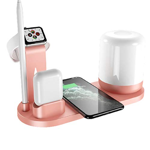 Estación de Carga inalámbrica rápida 3 en 1, Cargador inalámbrico 5 en 1 con luz Nocturna Compatible con iPhone Watch/AirPods/AirPods Pro Pencil