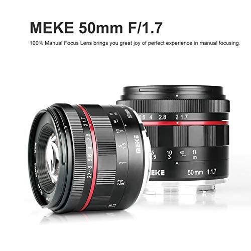 Meike 50mm f1.7 Wide-Angle Lens Manual Focus Lens for Olympus Panasonic Micro 4/3 Mount Mirrorless Cameras