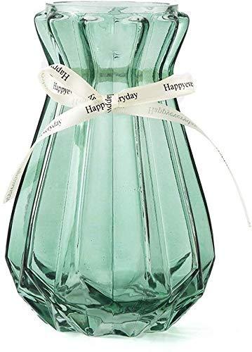HLL Jarrón de cristal transparente para decoración del hogar, salón, azul, transparente, 7 19 cm, decoración del hogar, C, tamaño mediano