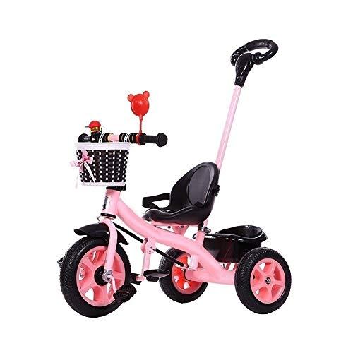 WENJIE Niños Bicicleta Cochecito For Niños De Juguete Portátil De Coche con Respaldo del Cinturón De Seguridad 1-2-3-4-6th Presente De Cumpleaños 2 Opciones De Color (Color : Pink)