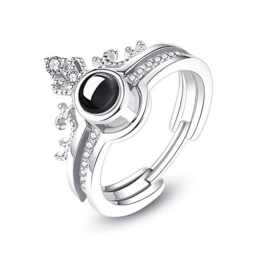 Gywttg Frauen Trauringe, 100 Sprachen Von I Love You Projection Crown Ring,Weiß