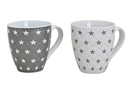 2x Tasse Teebecher Sterne im Set je 11 cm Jumbo Teepott 450 ml, aus Porzellan grau weiß mit Stern Sternchen Motiv, Teetasse Becher Jumbotasse
