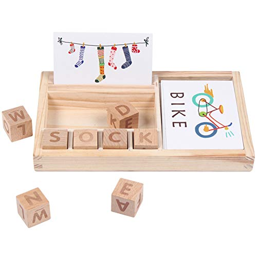 Matching Letter Spelling Game, Horuhue Wooden Spelling Toy, English Alphabet Card Game Machine Early Educational Toy for Kids 3 Years Old and Up Best Gift