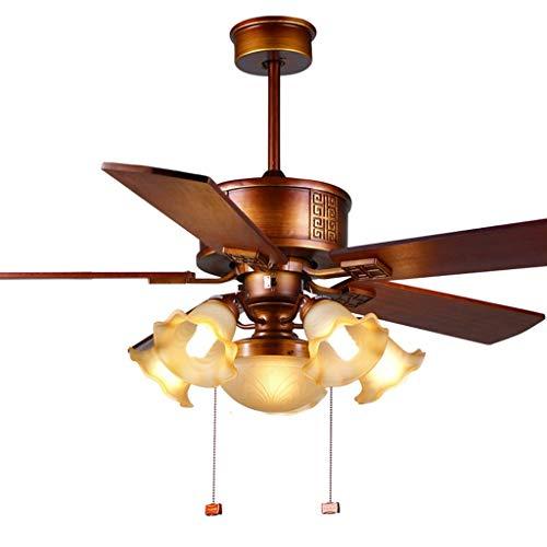 GXT Ventilador de techo luz 132 cm ventilador de madera sólida ventilador lámpara de techo salón ventilador de techo luz suave