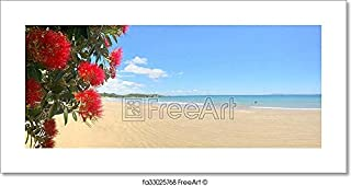 Barewalls Panoramic View of Pohutukawa Red Flowers Blossom On December Paper Print Wall Art (3.5in. x 7in.)