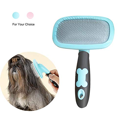 Makerfire Cepillo para Perros de Pelo Largo Pelo Corto, Cepillos para Gatos, 360 Degree Rotation Flexible Slicker Brush for Mascota Azul