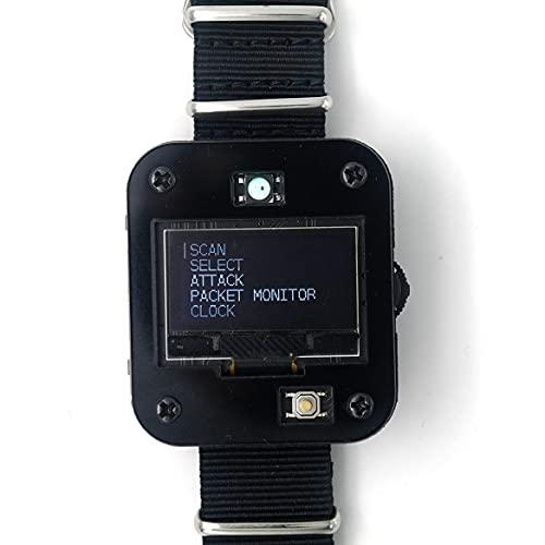 Seamuing WiFi Tool ESP8266 WiFi Deauther Uhr V2 DSTIKE NodeMCU Programmierbare Entwicklungsplatine Eingebauter 800-mAh-Akku mit OLED-Dispaly, Armband und 3D-gedrucktem Gehäuse