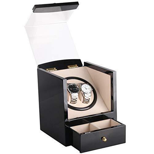 LULUTING Winder Caja de Reloj automático, de Madera con Pantalla Motor Caja de la Caja Organizador Negro Fit de CA o CC for 2 Relojes de Pulsera
