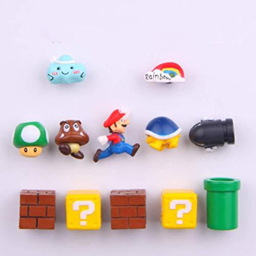 12 Unids / Set Super Mario Imán De Nevera 3D Tridimensional Mario Imán Decorativo Creativo Lindo Pegatina De Mensaje De Piedra De Hierro
