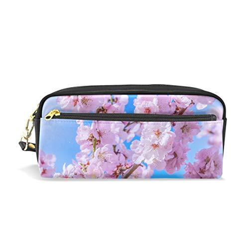 Eslifey Japanische Kirsch-Tasche für Damen, Make-up, PU-Leder, Kosmetiktasche für Kinder, Schule, tragbar, Stifthalter