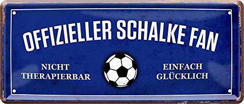 Offizieller Schalke Fan - einfach glücklich Fußball 28 x 12 cm Blechschild 955