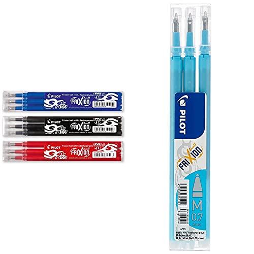 Pilot Frixion – Sets De 3 Bolígrafos Roller De Tinta En Los Colores Azul, Rojo, Negro + 75300310 Recambio Para Bolígrafos Y Plumas (Set De 3 Unidades), Azul Claro