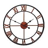 HOUADDY Reloj de Pared, Estilo numérico Romano, decoración del hogar, Reloj de Pared Digital para Sala de Estar, jardín al Aire Libre, Oficina en casa, clásico, Industrial