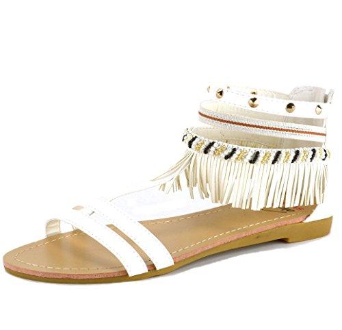 Alpine Swiss Womens Beaded & Studded Fringe Flat Gladiator Sandals White 6 M US