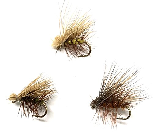 Feeder Creek Fly Fishing Trout Flies - ELK Hair Caddis Dry Assortment - Two Dozen Dry Flies - 3 Size Assortment 14,16,18 Olive, Yellow, and Brown