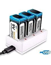 【新型】Keenstone 9v 電池 充電式 3個 リチウムイオン充電池 800mAh 006p カメラ/時計/ラジオ/おもちゃ電池 3ポート充電器とUSBケーブル付き