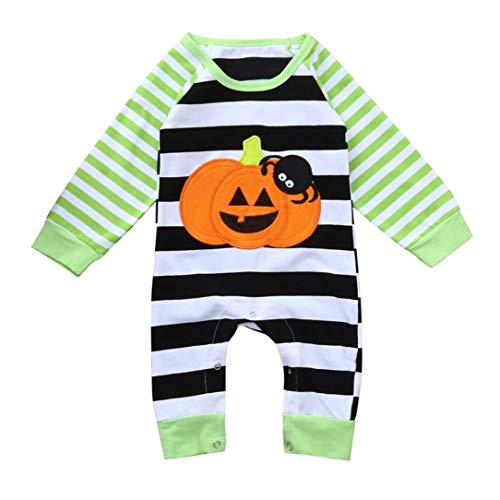 Zlolia-baby clothes Newborn Baby Halloween Striped Spider Pumpkin Romper Jumpsuit Outfits Clothes Green