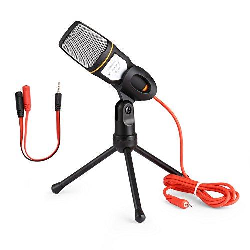 Micrófono de condensador con soporte de trípode para PC Laptop computadoras sonido Podcast en estudios de grabación, ideal para chat MSN Skype (negro)