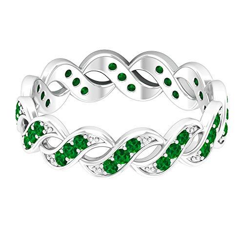 Einzigartiger Ehering, 1/2 Karat runder, künstlicher Smaragdring, Jahrestagsring, minimalistischer Frauenring, Versprechen Ring für Sie, May-Geburtsstein-Ring, 14K Weißes Gold, Size:EU 44