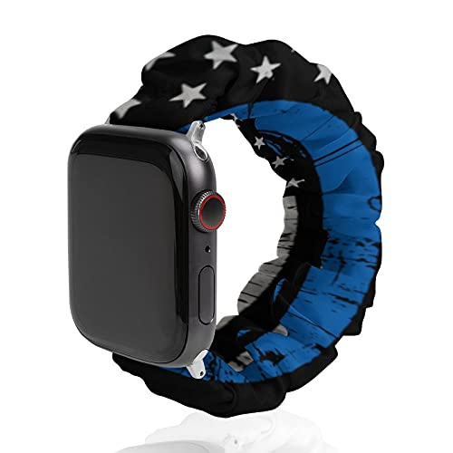 Thin Blue Line Police Law Enforcement Compatible with Apple Watch Band Scrunchie Elastic Band for iWatch Series SE 6 5 4 3 2 1 & 38mm 40mm