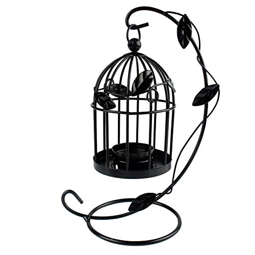 Renquen Vela clásica clásica clásica de hierro hueco con forma de jaula de pájaros, hoja de metal de árbol, vela romántica para decoración del hogar, 8 x 14 cm