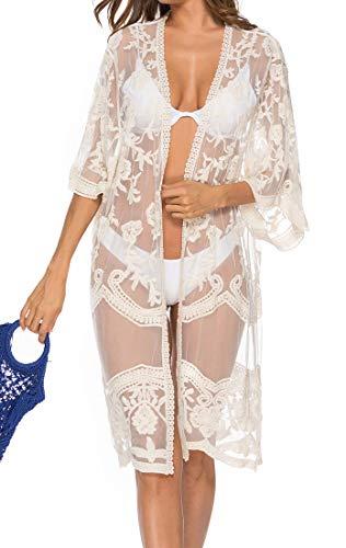 Bikini Cardigan Damen Elegant Lang Bikini Cover Up Sommer Cardigan Halb Ärmel Perspektive LeichteSpitze Blumenspitze Unifarben Böhmische Wasserlösliche Spitze Gemütlich Komfortabel (Weiß,One Sizw)