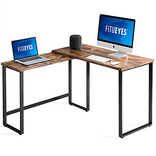 corner table for offices FITUEYES 360° Rotating L Shaped Desk Corner Table for Home Office Write Desk Double Workstation,RCD210801WG