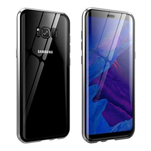 Funda de cristal para Galaxy S8 Plus,todo incluido transparente, doble cara, cristal templado HD 9H, imán de absorción de metal, marco protector de teléfono para Samsung Galaxy S8 Plus-plateado