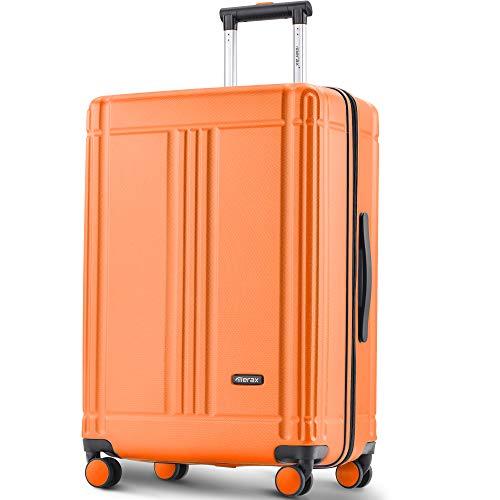 Laptop Luggage Lightweight Hard Shell 4 Wheels Suitcases with TSA Lock Luggage Set (24'') (Orange)