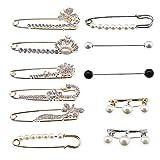 Set de 11 broches para suéter de cristal, bufanda, clips, perlas, brillantes, para mujeres, niñas, disfraces, accesorios