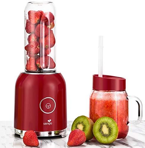 Senya – Batidora batidora con 2 botellas portátiles Rojo Juicy Delight 250 W, 6 cuchillas de acero inoxidable, SYCP-M025, sin BPA.