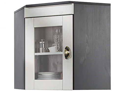Loft24 Hängeschrank Eckschrank Oberschrank Wandschrank Küchenschrank Landhaus Kiefer massiv grau weiß Glasfront 70 x 46 x 55 cm