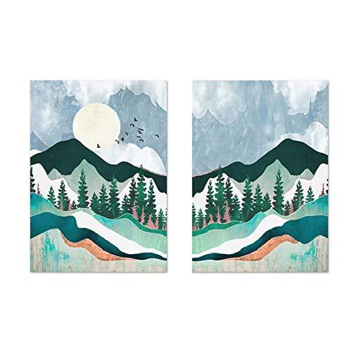 Jwqing Trendy abstract berglandschap mintgroen canvasdruk schilderij muurkunst foto poster voor woonkamer huis decoratie (40x60cmx2 geen frame)