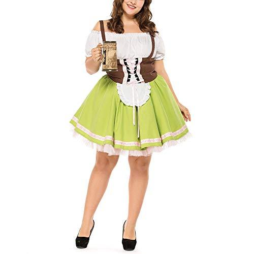 Grasgroen Duits bier kostuum Beierse nationale traditionele carnavalkleding, wijngoed overalls 2XL
