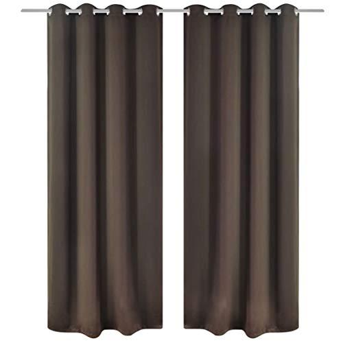 vidaXL Verdunkelungs-Vorhänge mit Metallringen 135 x 245 cm Braun Blackout