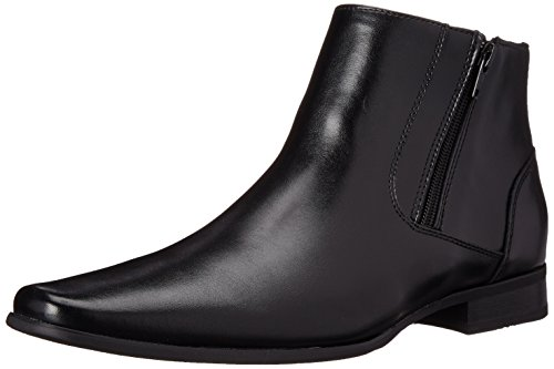 Calvin Klein mens Beck Ankle Bootie, Black Leather, 12 M US