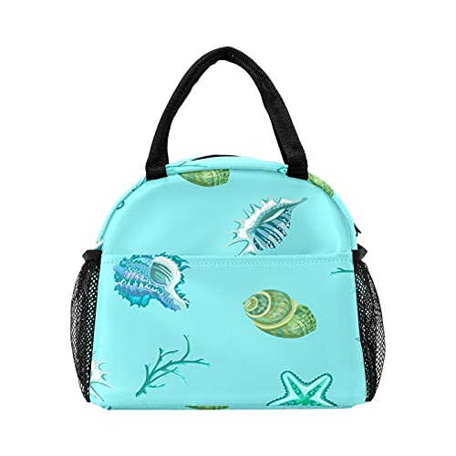Bolsa de almuerzo para mujeres y hombres, patrón de criatura de mar conchas con estrellas de mar aisladas reutilizable caja de almuerzo térmica bolsa térmica para el trabajo, picnic, senderismo