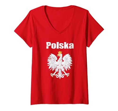Damen Polen Tshirt Trikot Polska Kinder Damen Herren 2021 T-Shirt mit V-Ausschnitt