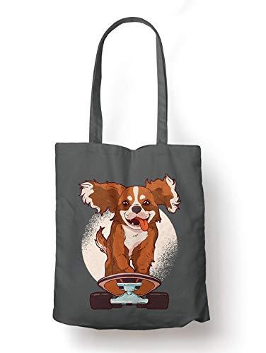 BLAK TEE Cute King Cavalier on a Skate Board Illustration Organic Cotton Reusable Shopping Bag Grey