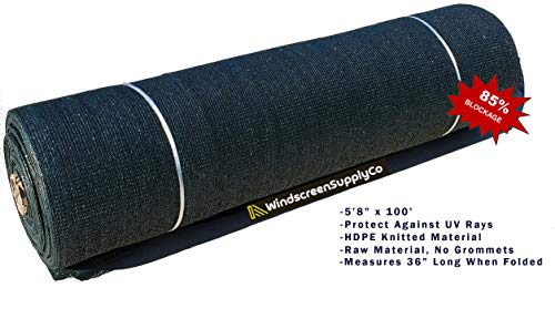 "WindscreenSupplyCo 5'8"" X 100 ft. Green Shade Fabric Roll Sunblock Shade Cloth, 85% UV Resistant Mesh Netting Cover"
