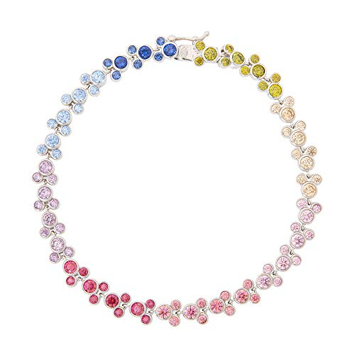 Disney Mickey Mouse Jewelry, Sterling Silver Rainbow Cubic Zirconia Tennis...