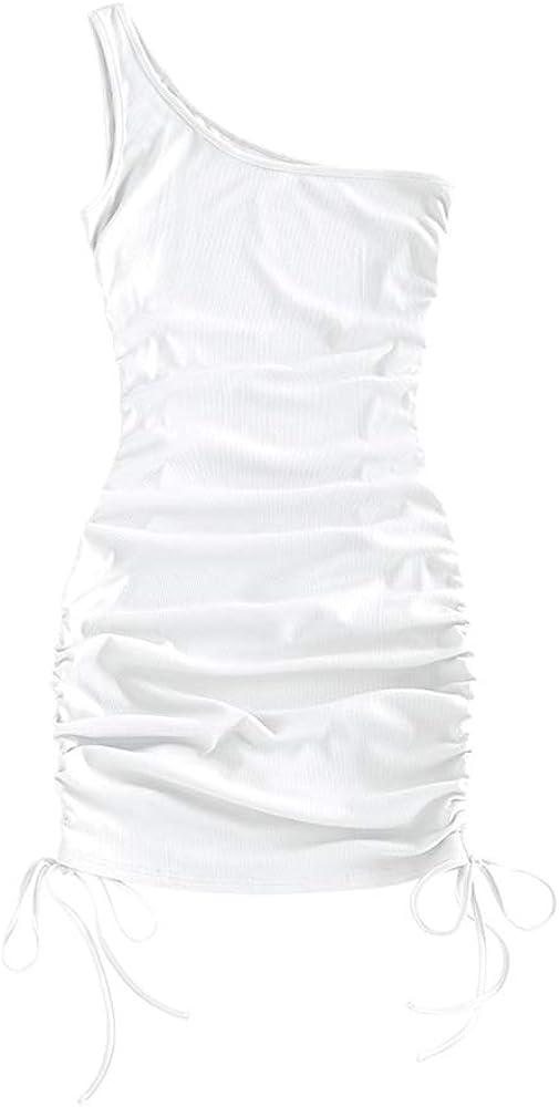 ZAFUL Women's Bodycon Dress Tie dye Ribbed Drawstring Cinched Side Hem Club Party Mini Dresses