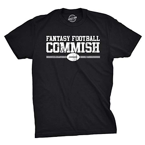 Mens Fantasy Football Commish T Shirt Funny Gift for Dad Game Day Graphic Cool (Black) - L